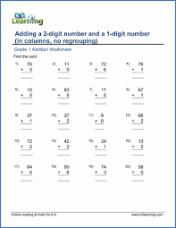 grade 1 math worksheet adding a 2 digit number and a 1 digit