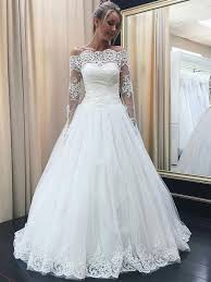 cheap bridal dresses the shoulder sleeves lace appliqued wedding dresses