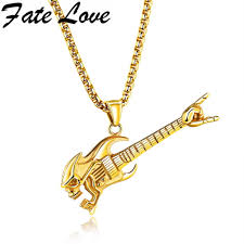 stainless steel guitar necklace images Us 12 43 fate love trendy electric guitar pendant stainless jpg