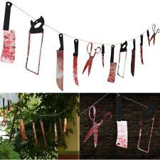 Scary Halloween Decorations Ebay by 12pc Bloody Weapons Garland Spooky Outdoor Scary Halloween