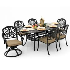 Lakeview Patio Furniture by Rosedown 7 Piece Cast Aluminum Patio Dining Set With 2 Swivel