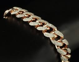 rose link bracelet images Heavy rose 10 ct vs lab diamond miami cuban curb link bracelet jpg