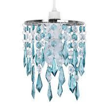Chandelier Acrylic Silver Teal Clear Acrylic Crystal Ceiling Light Lamp Shade