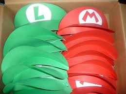 mario and luigi party hats visors maybe this could be next year s theme or technology themes luigi