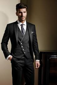 classic design black mens suits peaked lapel wedding suits for