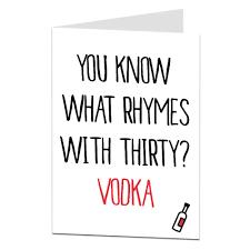 funny 30th birthday card vodka theme