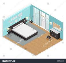 Bedroom Size Bedroom Interior Isometric View King Size Stock Vector 459215218