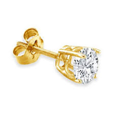 gold diamond stud earrings men s 14k yellow gold diamond stud earrings 2 3 ct gemologica a