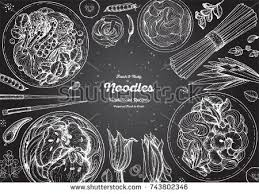 engraved dishes asian food engraved sketch noodle dishes stock vector 743802346
