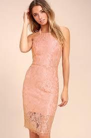 stunning blush lace midi dress lace bodycon dress blush