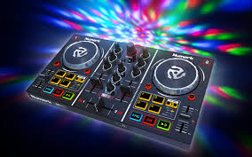 party mix dj controller with built in light show numark