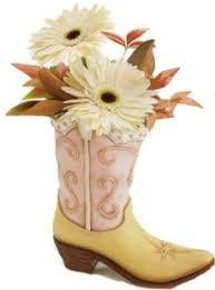 burtonandburton saddle up boot shaped vase with denim and red