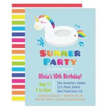 unicorn pool float summer birthday card zazzle
