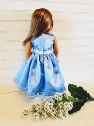flower girl doll gift baby blue satin doll dress american girl doll dress 18 doll