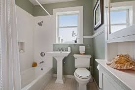 bathroom chair rail ideas cottage bathroom with chair rail tile floors in san