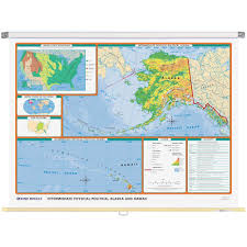 Alaska Map Cities by Alaska Physical Political State Wall Map Rand Mcnally Store