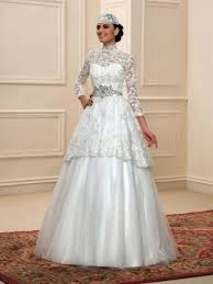 muslim wedding dresses modest sheer lace high neck indian muslim wedding dress with