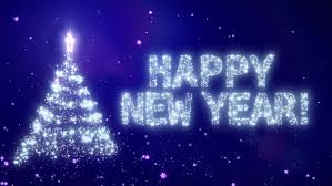 Happy New Year Christmas Background With Bright Snow Blue