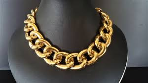 plated chain necklace images Stunning wide napier 18kt gold plated chain link necklace catawiki jpg