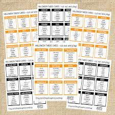 free printable halloween bingo game cards halloween fall taboo game 54 cards pdf instant download