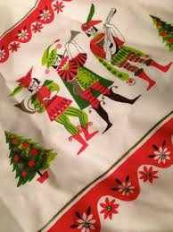 Christmas Table Cloths by Mid Century Modern Holiday Minstrels Tablecloth Christmas