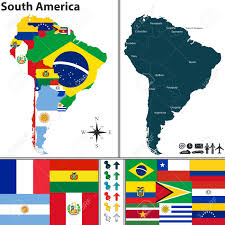 Map Of Colombia South America by Map Of South America With Flags And Location On World Map Royalty