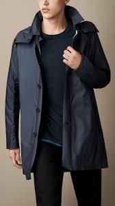 burberry showerproof car coat in blue for men lyst