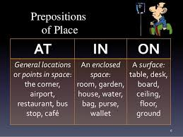 grammar prepositions of time and place