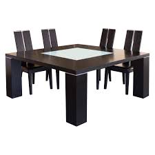 elite square dining table with glass insert wenge hayneedle