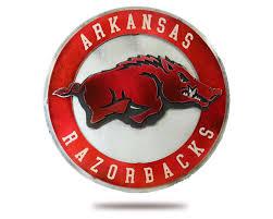 Arkansas Razorback Home Decor by University Of Arkansas Razorback 3d Vintage Metal Artwork Hex