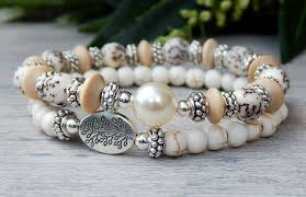 white beaded bracelet images Creamy white stacked beaded bracelet set by stoneriverjewelry JPG