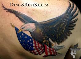 Flag Tattoos Color Bald Eagle With American Flag Tattoo By Dimas Reyes Tattoonow
