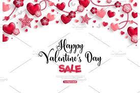 valentines sale s day sale horizontal border on white illustrations
