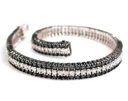 black bracelet diamond images 18k white gold 3 row black and white diamond tennis bracelet jpg