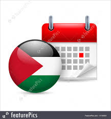 Palistinian Flag Flags Icon Of National Day In Palestine Stock Illustration