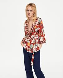 wrap blouses wrap blouse with contrasting print blouses shirts tops