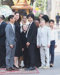 angelina jolie surrounded by her six children in cambodia for