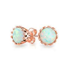 opal earrings stud 925 sterling silver crown white opal stud earrings
