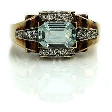 aquamarine engagement ring art deco 2 03ctw emerald cut antique