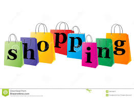 set of shopping bags with the word shopping stock photo image