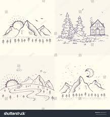 set beautiful sketch house spruce mountains stock vector 384834229