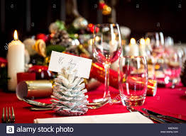 dining table set for christmas lunch with place settings