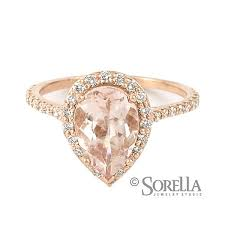 morganite pear engagement ring crafted gold engagement ring with pear shaped pink