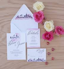 wedding invitations new york new york city wedding invitation handpainted with watercolors