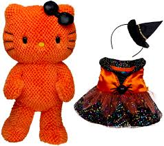 new build a bear orange hello kitty halloween themed teddy doll