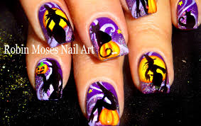 halloween nail art cats and witches nails design tutorial youtube
