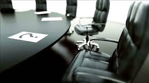 Small Meeting Table Small Conference Room With A Wooden Table Black Chairs Stock