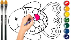 fish coloring page learn colors for children youtube