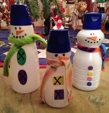 snowman craft made from recycled coffee creamer bottles use foam