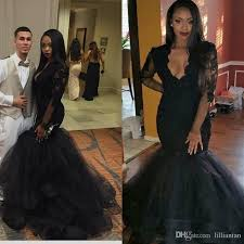 graduation gowns black lace evening dresses plunging neckline prom dress vestido